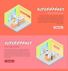 supermarket departments isometric web banners set vector image vector image