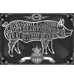 Vintage Blackboard Cut of Pork vector image vector image