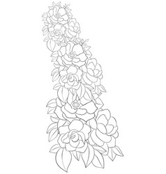 adult coloring bookpage a cute brunch of roses vector image