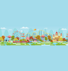 Amusement park with attractions and fairytale vector