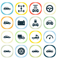 Auto icons set collection of crossover vector