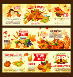autumn sale symbol set of thanksgiving day holiday vector image