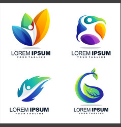 awesome gradient abstract logo design vector image