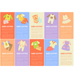 Baby clothes set with text vector