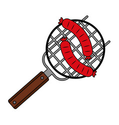 barbecue grill with two sausages vector image