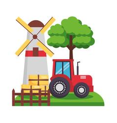 barn windmill tractor bales of hay tree vector image