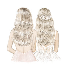 blonde bride and bridesmaid hand drawn vector image