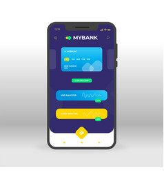 Blue and yellow online banking ui ux gui screen vector