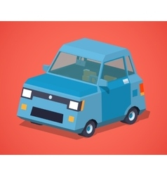 Blue compact car vector