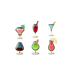 Cartoon set of various cocktails in glasses vector