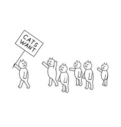 Cats want outline vector