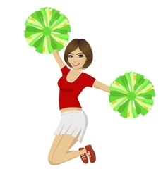 Cheerleader girl jumping with pom poms vector