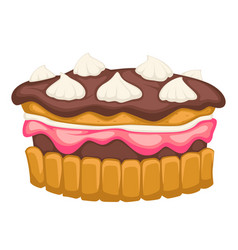 Chocolate cake with mousse or whipped cream vector
