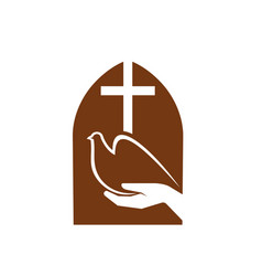 christianity religion symbol cross dove peace vector image