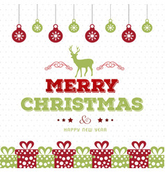 christmas card with pattern background and balls vector image