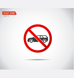 Circle prohibited no car parking traffic sign vector