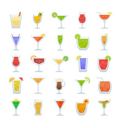 cocktails flat icons vector image