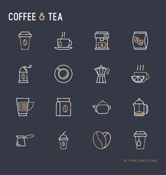 coffee and tea thin line icons set vector image