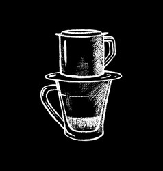 Coffee cup with filter white chalk on black vector