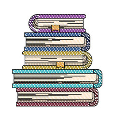 Color crayon stripe image of stack of books with vector