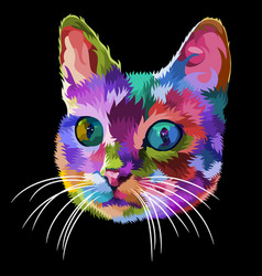 colorful cat head icon on pop art style vector image
