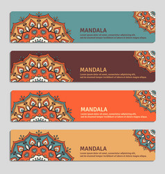 colorful set of ornamental banners with mandala vector image