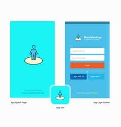 Company avatar splash screen and login page vector