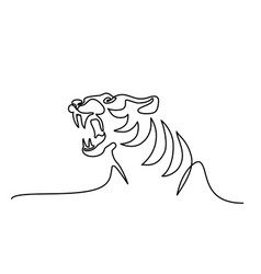 continuous one line drawing tiger symbol logo vector image