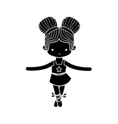 Contour girl dancing ballet with two buns hair vector