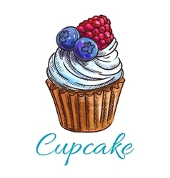 Cupcake sketch icon Patisserie emblem vector