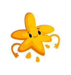 Cute cartoon yellow monster character with funny vector