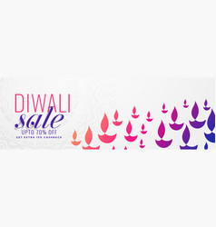 Diwali sale banner with many colorful diya vector