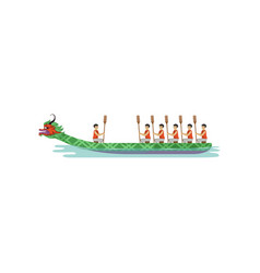 Dragon boat rowing team competing in traditional vector