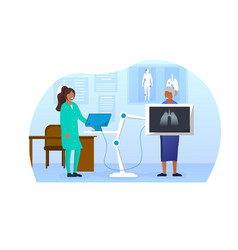 Elderly woman standing behind x-ray making vector