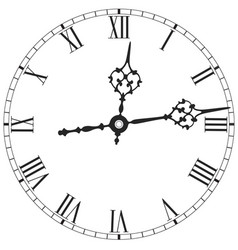 Elegant clock face with roman numerals on white vector