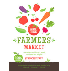 farmer market poster template with vegetables icon vector image