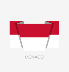 Flag of monaco flat icon waving flag with country vector