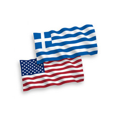 flags of greece and america on a white background vector image
