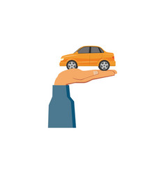 Flat man hand holding sedan car vector