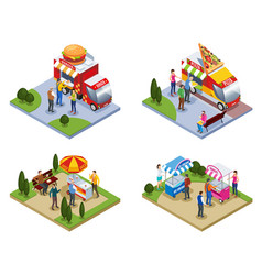 four isometric street fast food compositions vector image