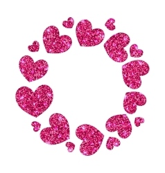 Frame from pink hearts with glitter background vector