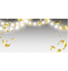 garland and golden confetti on a transparent vector image