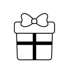 gift box with ribbon outline vector image
