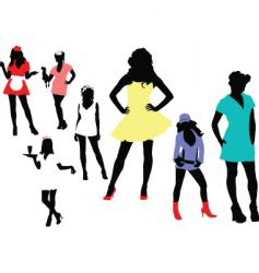 girl silhouettes vector image