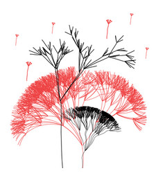 graphic beautiful trees on white background vector image