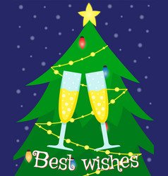 greeting card with a christmas tree vector image