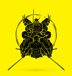 Group of samurai ready to fight action vector