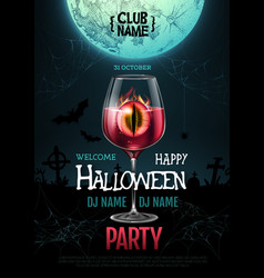 halloween cocktail disco party poster vector image