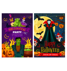 halloween greeting banner with zombie and vampire vector image