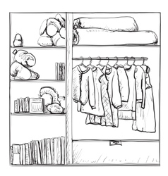 Hand drawn wardrobe sketch Clothes on the hanger vector